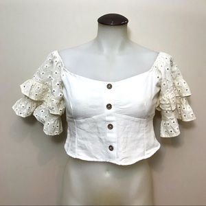 Zara NWT Linen Blend Crop Top With Eyelet Sleeves